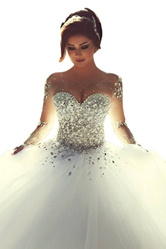 ScelleBridal Gorgeous 2016 Pearls Beading Long Sleeves Ball Wedding Dresses for Bride Ivory 8