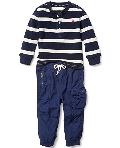 Ralph Lauren Baby Boys' Cotton Henley & Pant Set Cream Multi (3 Months) -