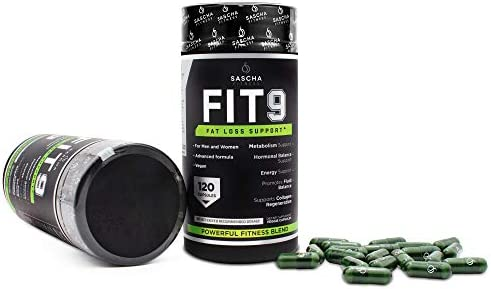 Sascha Fitness Fat Loss tablets | Collagen make stronger | Fluid Balance | FIT9 Ingredients: 7Keto + Uva Ursi, Gotu Kola, L-Theanine,Gingko Biloba,DIM,Green Tea | Weight Loss Supplements-Vegan-120 Natural Cap