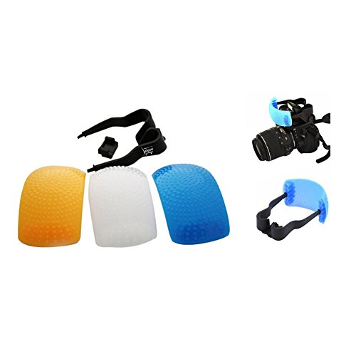 L.Store ® Soft Pop-Up Flash Diffuser with Fastening Strap: White, Blue (cool) & Orange (warm) screens; compatible with Canon Nikon Pentax Olympus Panasonic Fujifilm and most other On-camera Flashes (Pentax Type)