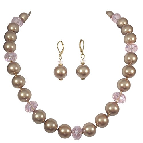 Pearl Brown Imitation (Single Strand Glass Beaded Imitation Pearl Necklace Dangle Earrings Set (Brown & Pink))