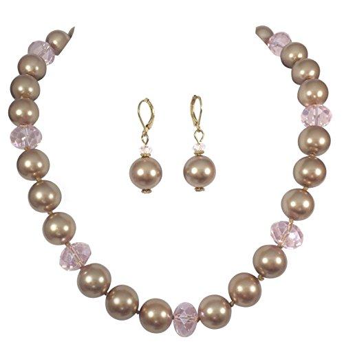 Single Strand Glass Beaded Imitation Pearl Necklace Dangle Earrings Set (Brown & Pink) (Glass Pearl Beaded Earrings)