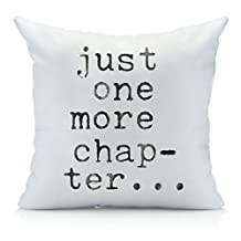 Oh, Susannah Just One More Chapter Throw Pillow Cover - Library Book Lovers Gifts - Bibliophile (1 18x18 inch, Pillowcase)