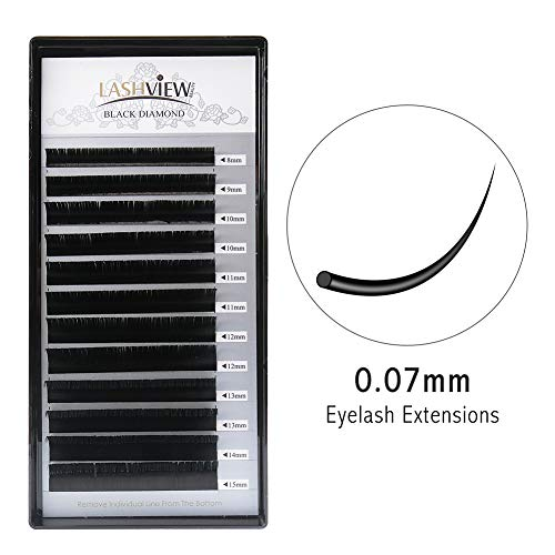 LASHVIEW 0.07 Thickness C Curl Mixed Tray Volume Faux Mink Eyelash Extensions Silk Individual Lash Extensions Pure Korean Silk lashes Soft Application for Professional Salon Use ()