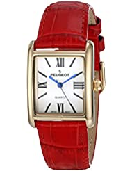Peugeot Womens 14K Gold-Plated Tank Roman Numeral Red Leather Band Watch 3036RD
