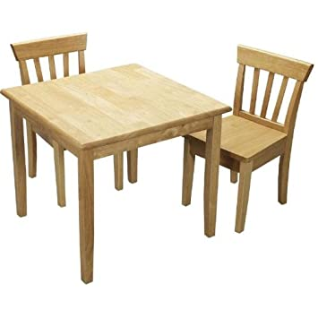 Amazon.com: Gift Mark Square Table And Chair Set   Natural: Kitchen U0026 Dining