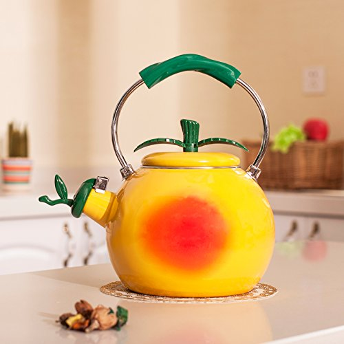 Whistling Tea Kettle 2 Quart Tea Pot Stainless Steel Tea Kettle for Electric Gas Stovetop Cool Cute Modern Tea Kettle Stove Top Teapot Hot Water Whistle Small Retro Metal Enamel Surface (Honey peach)