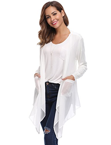 Abollria Womens Cardigans Autumn Winter Chiffon Lightweight Long Sleeve Waterfall Open Front Cardigan with Pockets