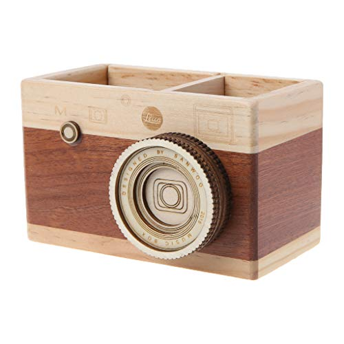 Yeahii Creative Camera Pattern Wooden Pen Pencil Case Holder Stand Desktop Sundries Storage Box Multi Purpose Use(Long)