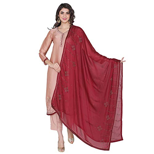 (PinkShink Women's Readymade Peach Satin Indian/Pakistani Salwar Kameez Dupatta)