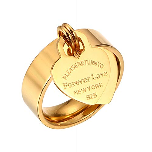 (Designer Inspired Gold Titanium Steel Forever Love Heart Tag Ring (7))