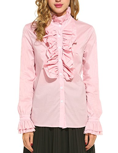 Shirt Stand Ruffle Collar (ACEVOG Women Vintage Styles Stand Collar Long Sleeve Solid Ruffle Shirts Blouses)