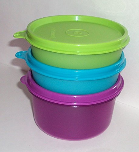 Tupperware Set of 3 Storage Containers Small Bowls Purple Gr