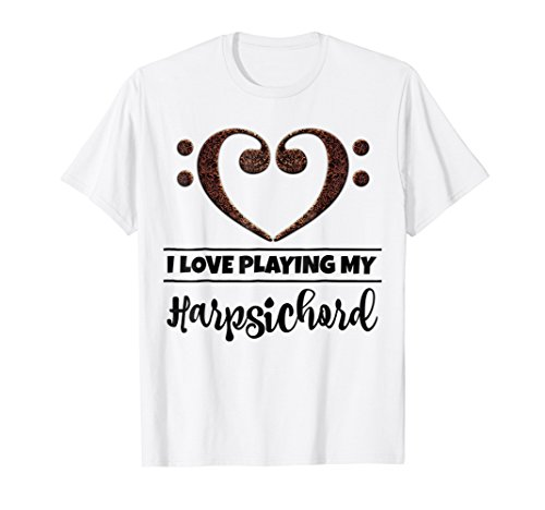 Double Bass Clef Heart I Love Playing My Harpsichord T-Shirt