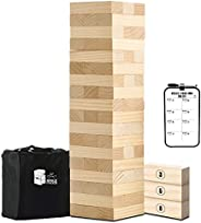 Large Tumble Tower Toppling Timbers Wooden Stacking Games Outdoor Games for Adults and Family Lawn Games - Inc
