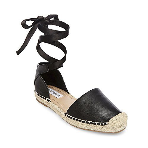 Ribbon Espadrille Sandals (Steve Madden Women's Roses Sandal, Black Leather, 7 M US)
