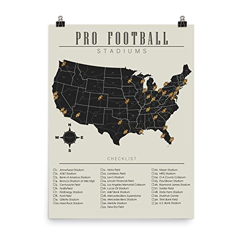 - NFL Stadiums Checklist Map Poster