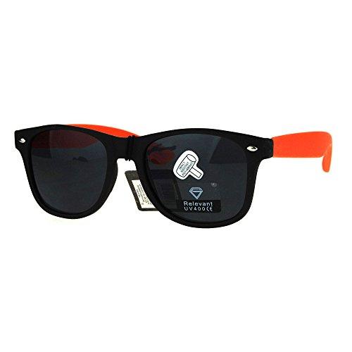 80s Hipster Skater Rectangular Rubberized Matte Color horned Sunglasses Black - Skater Glasses