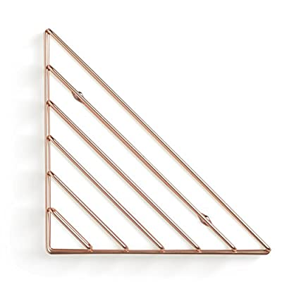 Umbra Strum Wall Shelf, Copper - ATTRACTIVE MODERN DESIGN: Strum is a contemporary brass shelving wall solution that can be used to add a modern decorative touch to your space, thanks to its wire metal material, clean lines and edges USE MULTIPLE TO CREATE A PATTERN: Mounts in three different orientations to create simple and clean-lined patters. Strum is the perfect way to tidy your living space, great for adding books, magazines, stationary, records and note pads to a floating wall shelf. LIGHTWEIGHT & EASY TO HANG: Strum comes complete with easy to follow instructions, screw caps and all the necessary hardware required to mount it to virtually any wall in just minutes - wall-shelves, living-room-furniture, living-room - 41 O3lT04JL. SS400  -