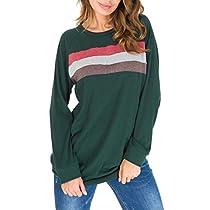 Simaier Womens Crewneck Color Block Long Sleeve Loose Casual Sweatshirt Top (S-XXL)