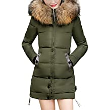 TIFENNY Womens Thicken Tops Ladies Slim Hooded Down Padded Long Winter Warm Parka Outwear Jacket Coat