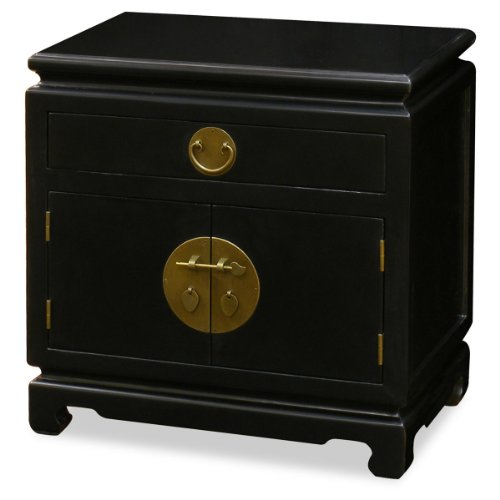 ChinaFurnitureOnline Hand Crafted Ming Style Nightstand Cabinet with Brass Hardware - Black ()