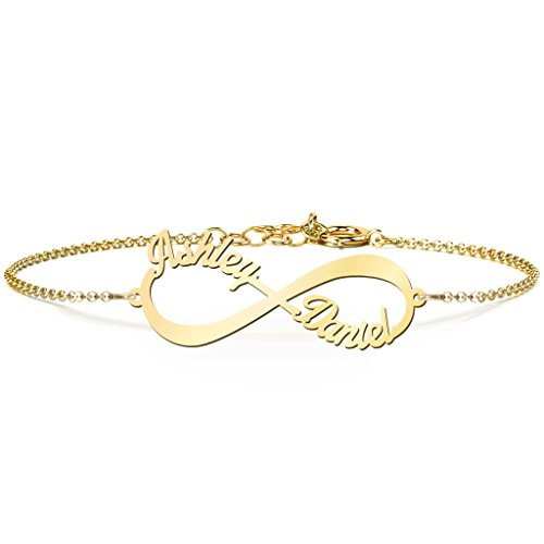 14K Yellow Gold Personalized Infinite Love Name Bracelet by JEWLR