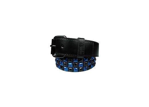 Bullet 69 Metallic Blue   Black Pyramid Stud Unisex Faux Leather Belt S fe76e5a4e8c