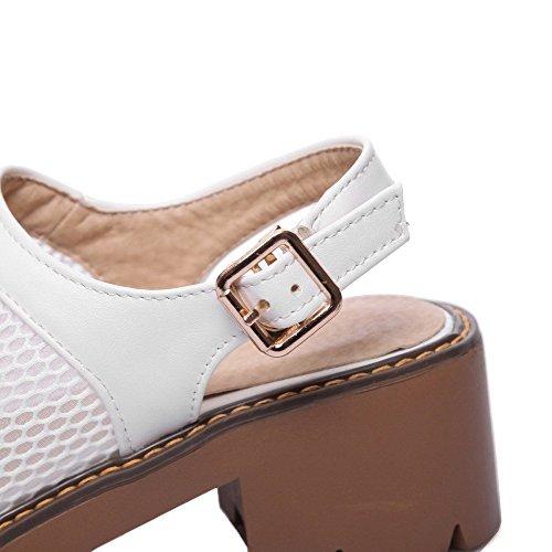 Blanc Sandales TSFLH007245 Boucle Correct Ouverture Femme Talon AalarDom d'orteil à qfCwW