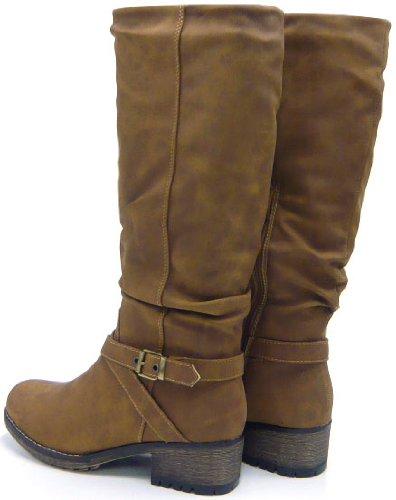 Robuste Damen Winter Stiefel gefütterte Kunst Fell Damen Boots Braun