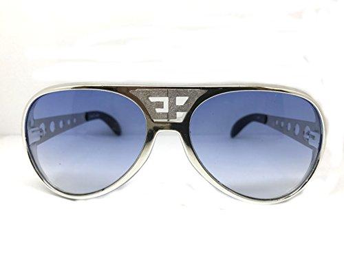 ELVIS SUNGLASSES AVIATOR WITH TRADE MARK WHITE EP SILVER BLUE - Sunglasses Trademark