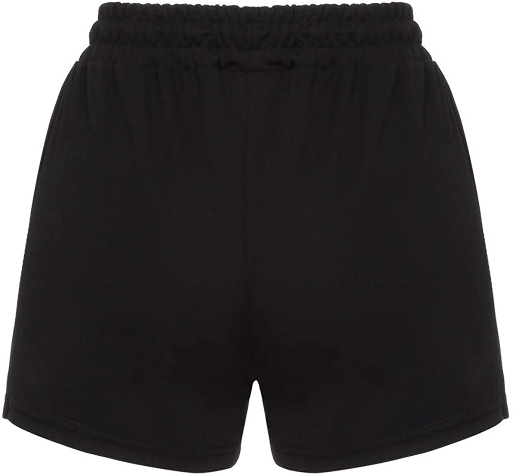 meidexian888 Womens Striped Elastic Wasit Drawstring Tie Pocket Casual Shorts Pants Black