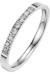 BOHG Jewelry Womens Cubic Zirconia CZ Couples Love Eternity Ring 2MM Comfort Fit Wedding Band Silver
