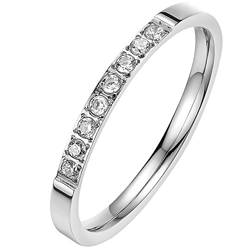 Women's 2mm Classic White Cubic Zirconia Stainless Steel Love Promise Wedding Eternity Cz Ring Elegant Size 6