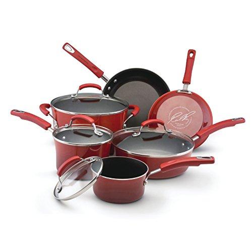 6 Piece Enameled Cookware Set (Rachael Ray Porcelain Enamel II Nonstick 10-Piece Cookware Set, Red Gradient)