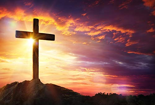 LFEEY Vinyl 6x4ft Backdrop Jesus Christ Cross Sunrise Photography Background Sunset Sepulcher Lord Pray Christmas Easter Crucifixion Religious Belief Studio Props