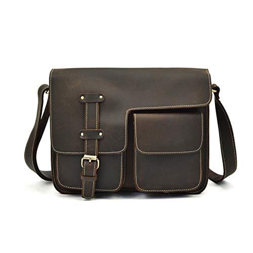 Men's Casual Shoulder Bag, Leather Natural Leather Messenger Bag Flip Cover Briefcase Out Bag Handbag Shoulder Bag