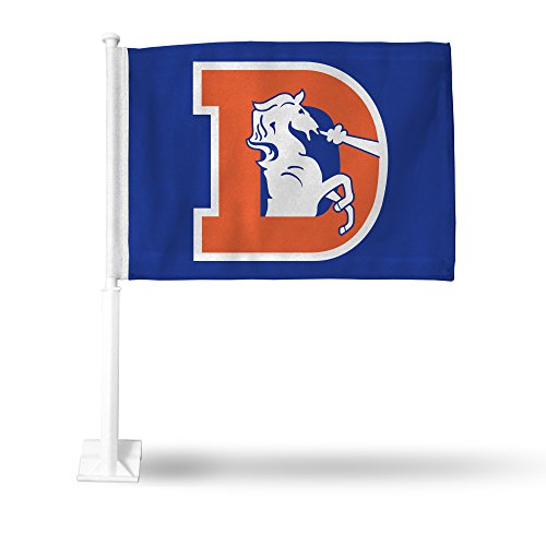 NFL Denver Broncos Car Flag, Blue, with White Pole, Retro