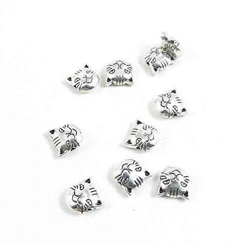 100 Pieces Antique Silver Tone Jewelry Making Charms Pendant Findings Craft Supplies Bulk Lots Arts J7WF8 Cat Kitten Head Loose Beads