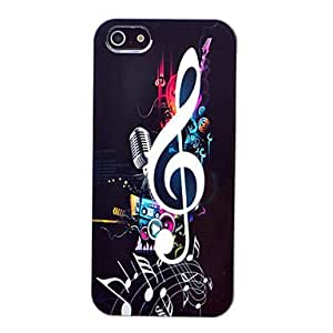 AES - ABS Musical Note And Microphone Pattern Back Case for iPhone 5/5S
