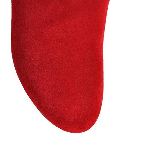 AllhqFashion Mujeres Puntera Redonda Mini Tacón Caña Baja Tachonado Botas con Lazos Rojo
