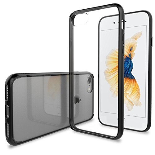 Luvvitt Clear View iPhone 7 Case/iPhone 8 Case with Hybrid Scratch Resistant Back Cover and Shock Absorbing Bumper for Apple iPhone 7 (2016) and iPhone 8 (2017) - Black