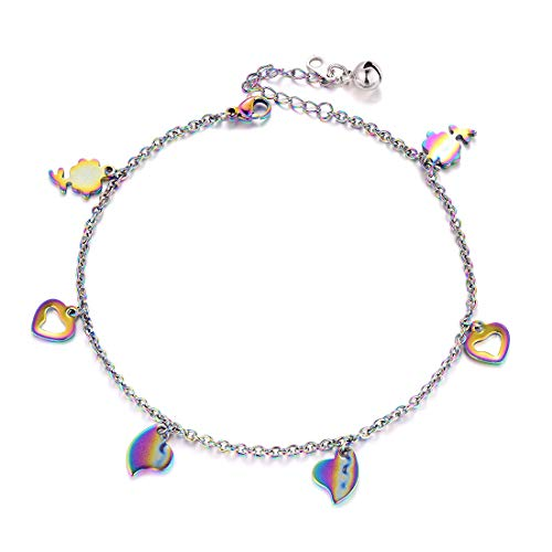 (U7 Stainless Steel Chain Rainbow Heart Charm Bracelet for Foot Charm Anklets Women)