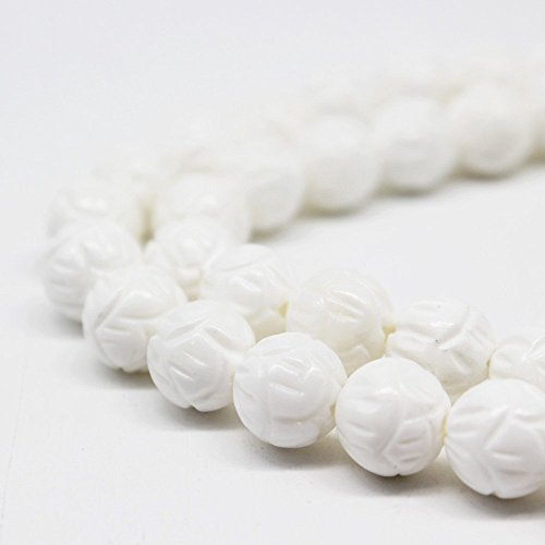 - 10mm Natural White Lotus Carved Tridacna Shell Beads Loose Gemstone Beads for Jewelry Making Strand 15 Inch (38-40pcs)