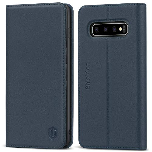SHIELDON Galaxy S10+ Plus Case, Genuine Leather Galaxy Wallet Case Folio Cover Kickstand with Credit Card Slots Full Protection Magnetic Case Compatible with Galaxy S10 Plus (6.4 Inch) - Dark Blue