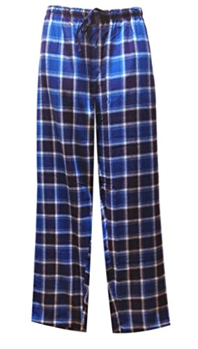Jockey Men's Sleepwear Flannel Lounge Pant, blue/white plaid, 2XL