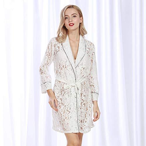 FERFERFERWON Nachthemd Sexy Spaß Pyjamas Damen Sommer Spitze Perspektive Hohle Versuchung Spitze Robe (Farbe  Weiß, Größe  L)