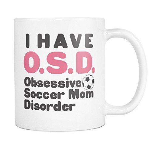 ArtsyMod OSD OBSESSIVE SOCCER MOM DISORDER Premium Coffee Mug, PERFECT FUN GIFT for the Soccer Mom! Attractive Durable White Ceramic Mug (11oz., Pink/Black Print)