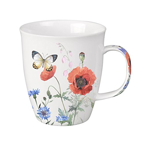 SVIV Curve New Bone China Coffee or Tea Mug, 16oz (Butterflies in my Garden) Bone China Tea Mug