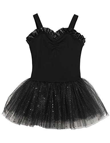 Zaclotre Little Girls Cute Short Sleeve Ballet Leotard Princess Tutu Dance Dress, Black 140 ()